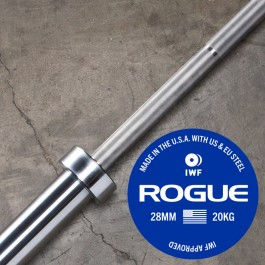 Rogue 28MM IWF Olympic Weightlifting Bar w/ Center Knurl - Bright Zinc
