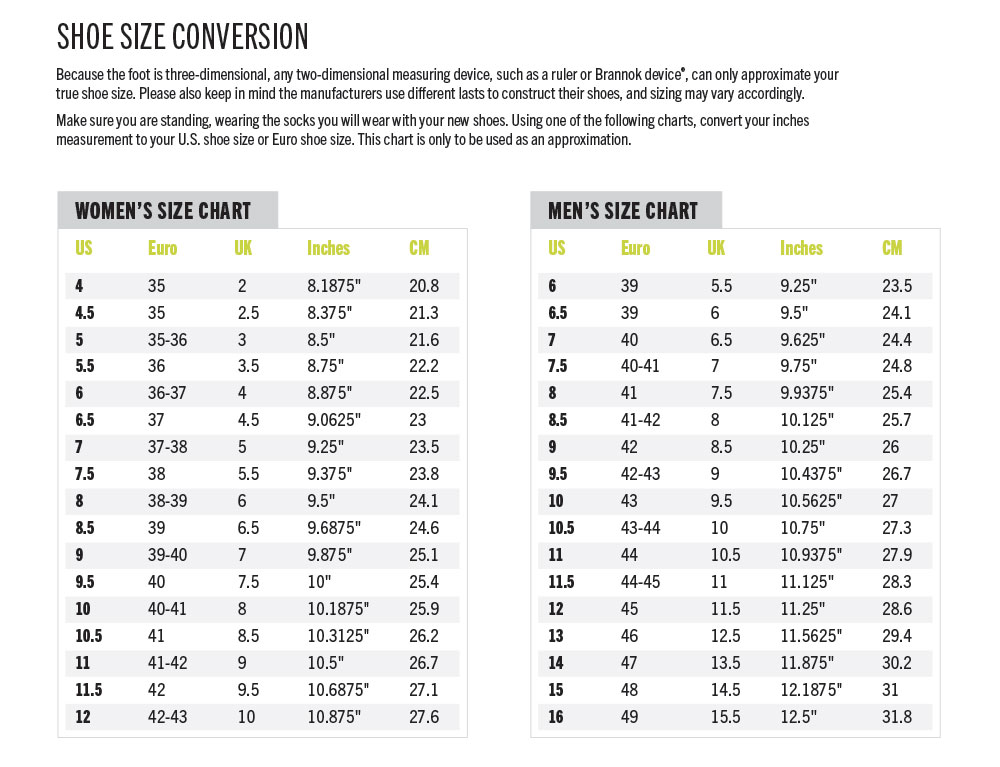 Nike Womens Shoes Size Chart